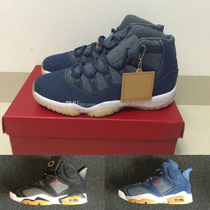 2020 New Jumpman 6 Designer Men Basketball Shoes Denim 11 Trainers VI nrg Jeans Blue Black 11s Travis designer Mens Authentic Sneakers
