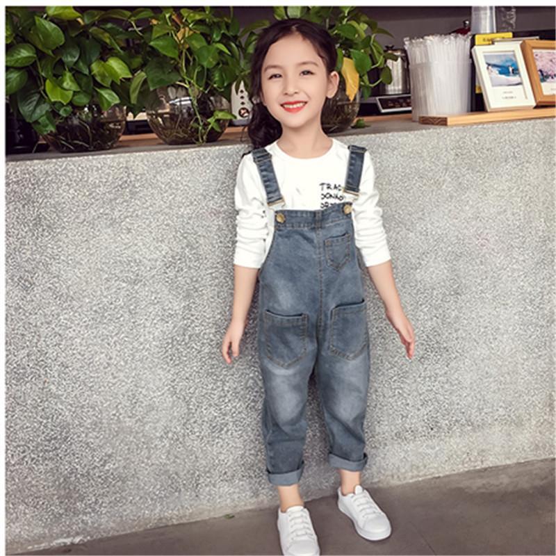 Kız bebekler tulumları Sonbahar Denim Jumpsuit Stil Uzun Kot Casual Yıkanmış tulum Cep Düğme Askı Pantolon Çocuk Kız Kot Yeni
