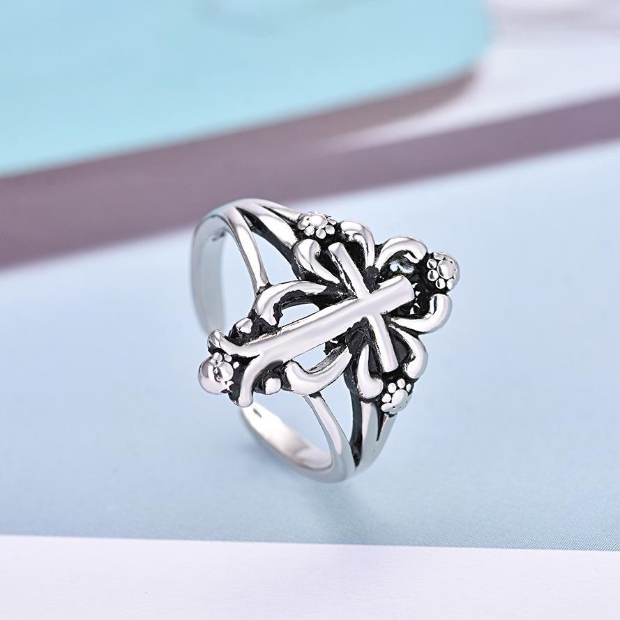 Кольцо цветка Copper Plated Silver Cross, европейский и американский Личность Punk Ретро кольцо