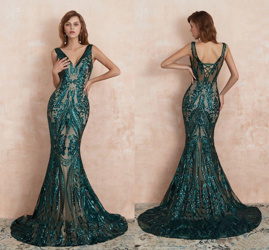 2020 Sexy Green Sequined Mermaid Prom Dresses V Neck Elegant Formal Evening Dresses Cheap Long Party Pageant Ball Gowns vestido de fiesta