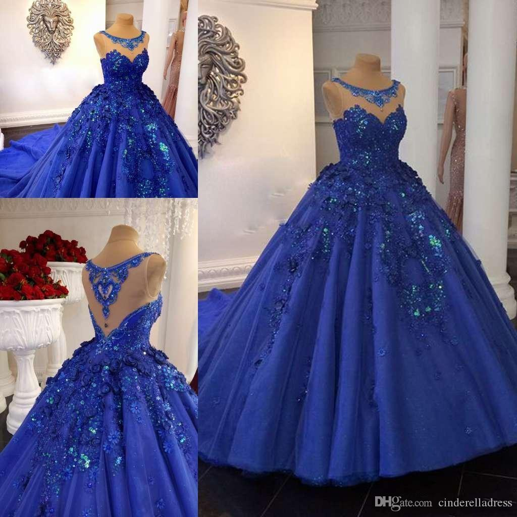 Großhandel Royal Blue Ballkleid Ballkleider 20 20D Floral Appliqued Lace  Jewel Neck Abendkleider Kapelle Zug Formal Sweet 20 Quinceanera Kleid Von