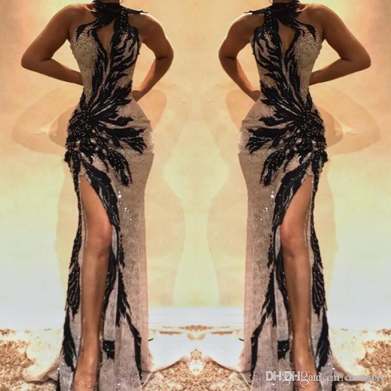 Preto 2019 Longo Sereia Vestidos de Baile de Alta Lado Dividir Sweep Trem Vestidos de Festa À Noite Desgaste Abendkleider Ocasião Especial Dres