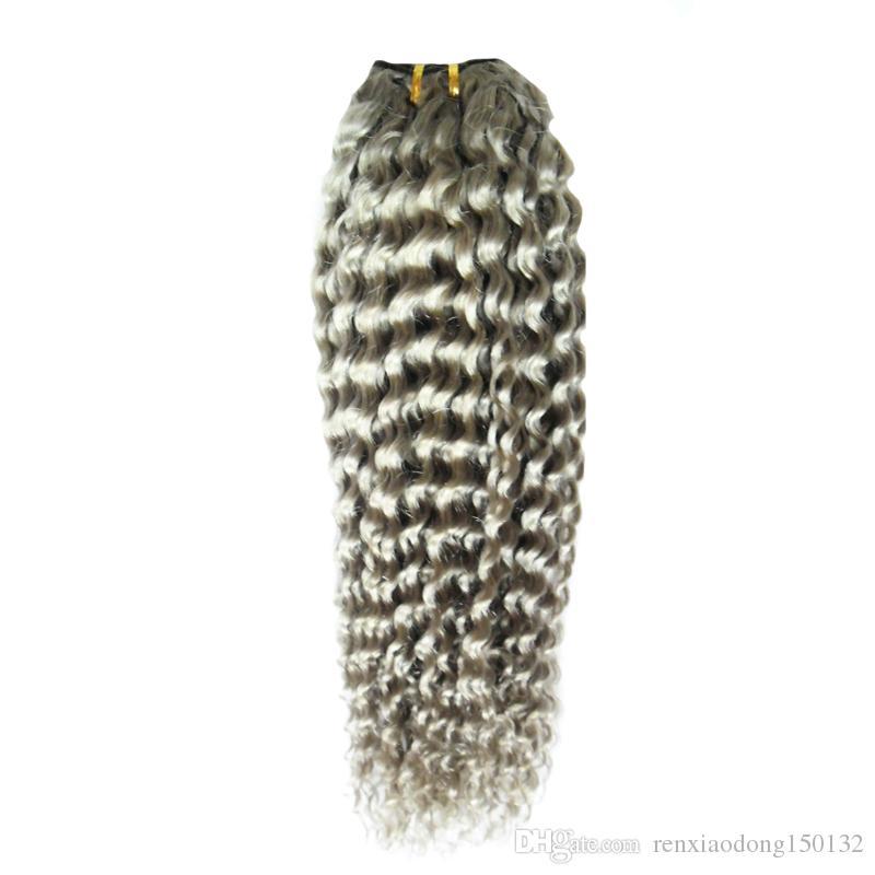 a buon mercato capelli umani di grado 8a riccio crespo brasiliano tesse le estensioni d'argento dei capelli di grigio di 100 g / pc, doppia qualità di trama, nessun spargimento, groviglio libero