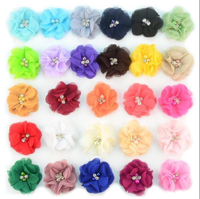 27colors şifon Çiçek ile Pearl Rhinestone Merkezi Yapay Çiçek Kumaş Çiçek Çocuk Saç Aksesuarları Bebek Headbands Çiçek