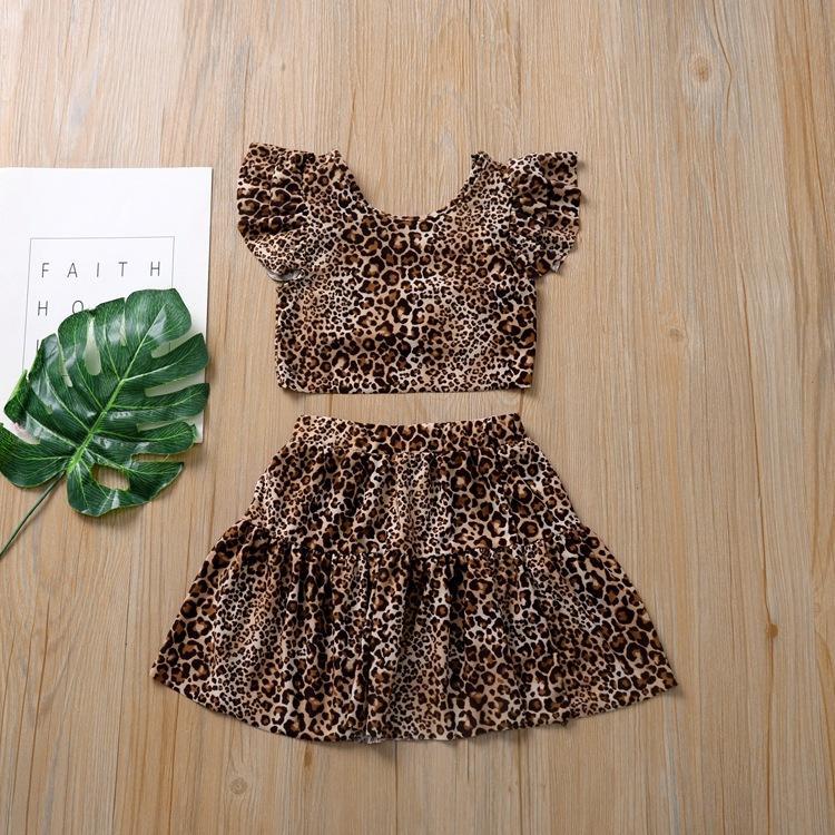 Summer Girls Clothes Fashion Leopard Print Short Sleeve Tops T Shirts Skirt Two Piece Set Outfits INS Girls Dress Kids Clothes Set CZ403