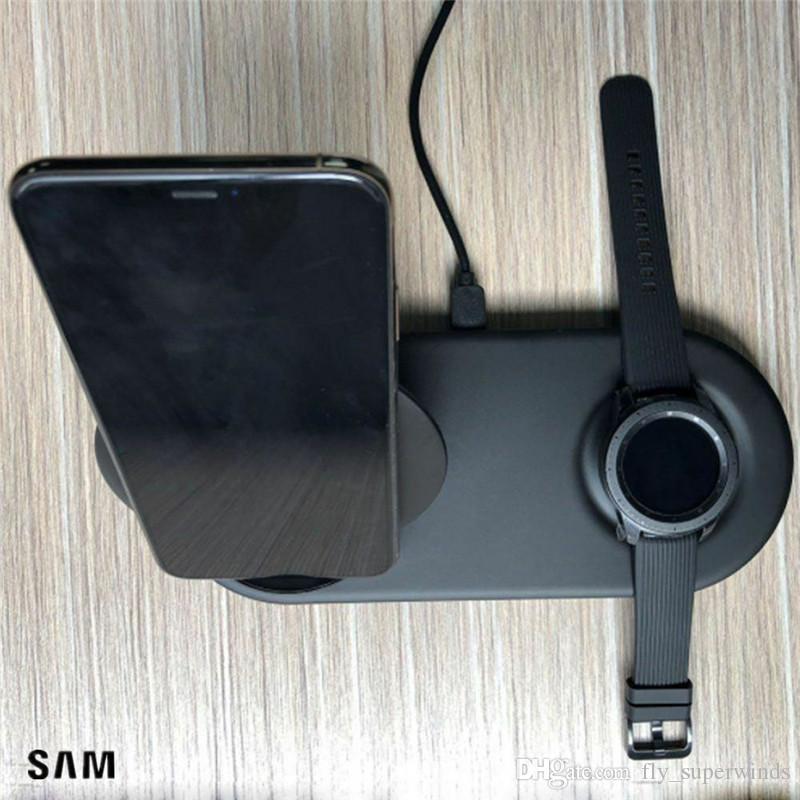 OEM 25W 듀얼 패드 빠른 무선 충전기 삼성 Note10 S10 S9 기어 S4 S3와 소매 상자 미국 플러그 데이터 케이블을 추가