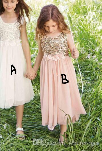 Blush Flower Girls Dresses Gold Sequins Hand Made Flower Sash New Tea Length Tulle Jewel A Line Kids Formal Dress Junior Bridesmaid Dress