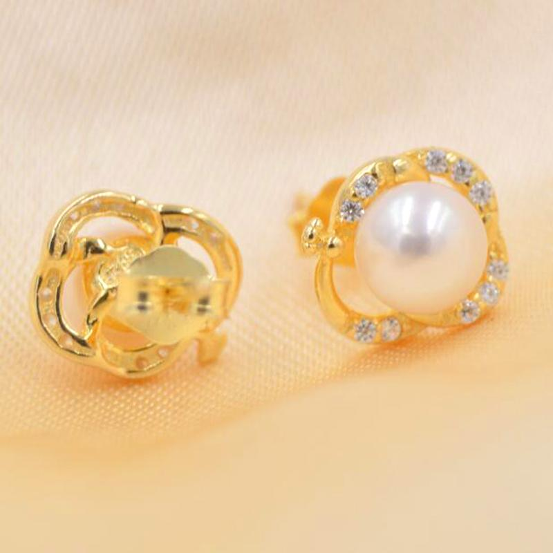 ASHIQI Freshwater Pearl Earring For Women Solid 925 Sterling Silver flowers stud earrings Natural pearl Jewelry New Fashion