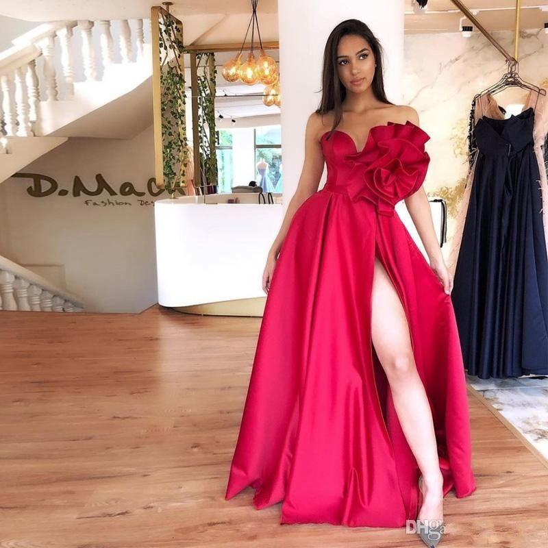 Modern Sweetheart Side Split A Line Prom Dresses Hand Made Flower Floor Length Formal Gowns Evening Party Dresses vestidos de fiesta 2020