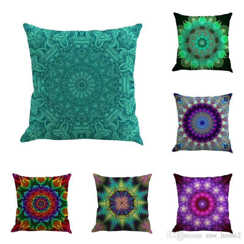 Pillow Case Bohemia Abstract Geometry Cushion Cover Mandala Flower Pattern Flax Throw Chair Seat Car Pillowcase Decorative 45*45CM