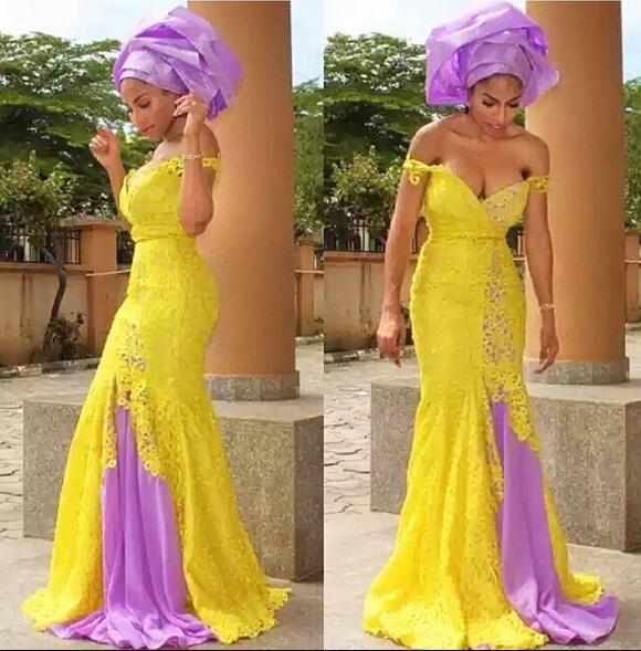 Amarillo Moda Africana vestidos de noche largo del hombro de la sirena del vestido de noche de dos tonos África estilo formal de la tarde del vestido largo