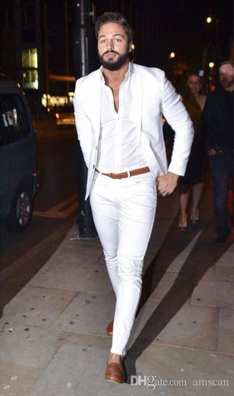 2019 Sokak Moda Beyaz Erkekler Suit Casual Slim Fit suit 2 Parça Smokin Özel Blazer Ofis Erkekler Çalışma Balo Suits (Ceket + Pantolon) YM