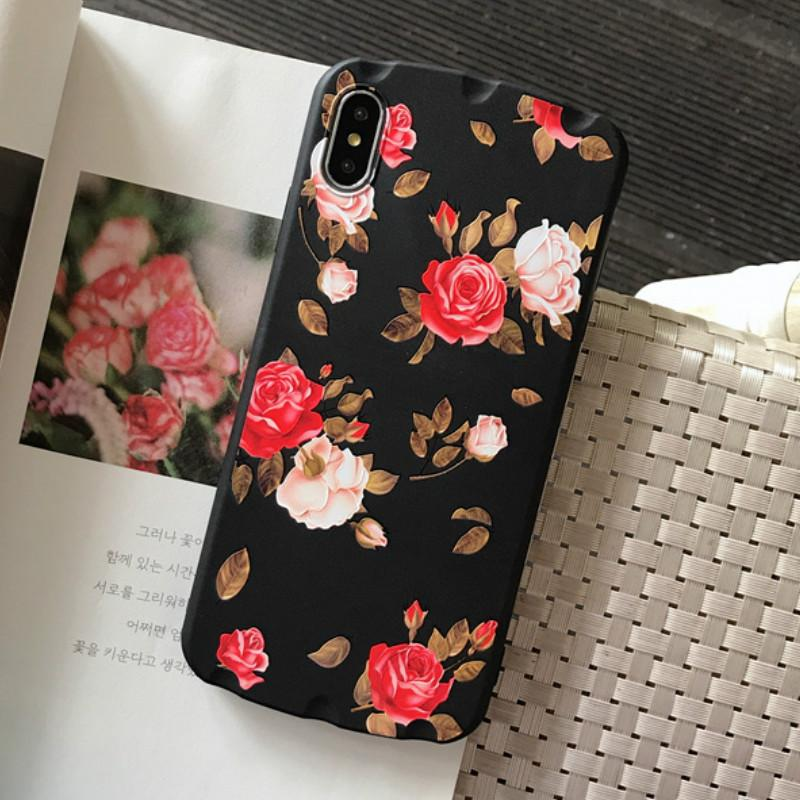 3D Cartoon Vintage Rose Flower Case Cover for IPhone X XS MAX XR 7 6 6s 8 Plus Retro Floral Phone Shockproof Case Wholesale