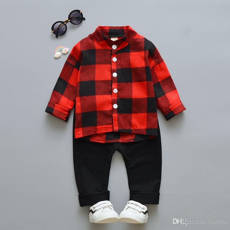 Toddler Boys Girls Plaid Jacket Long Sleeve Button Hoodie Infant Spring Fall Winter Outfits