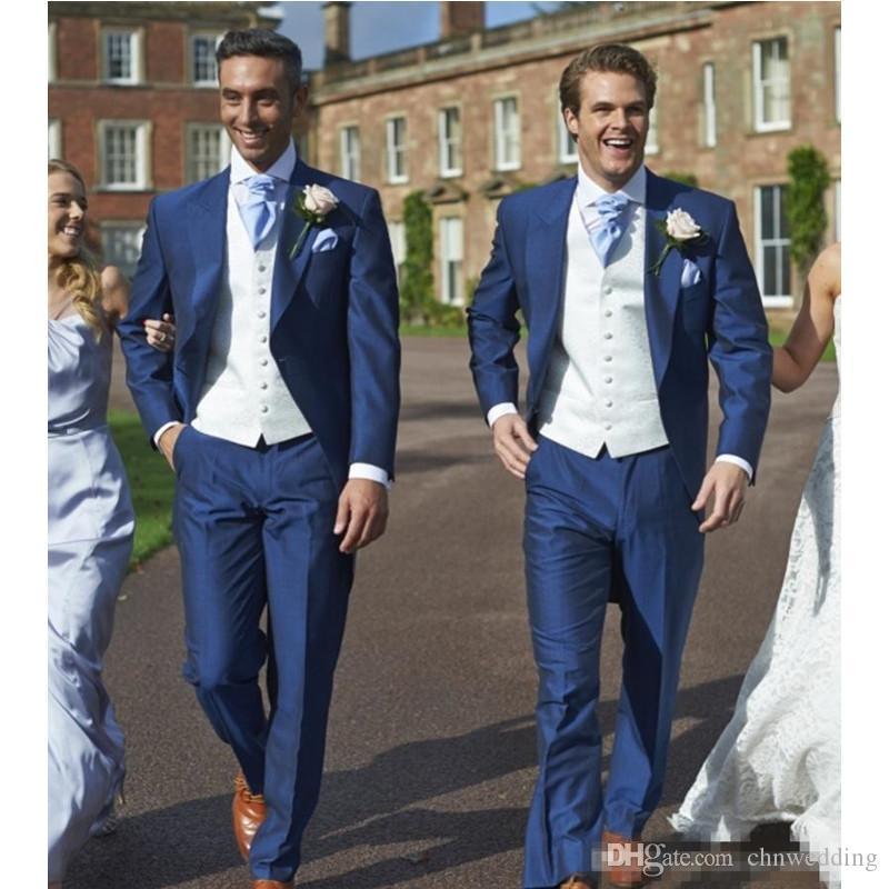 Özel Mavi Slim Fit Düğün Erkekler Damat smokin Damat Suits İyi Adam Blazers (Ceket + Pantolon) Kostüm Homme Mariage