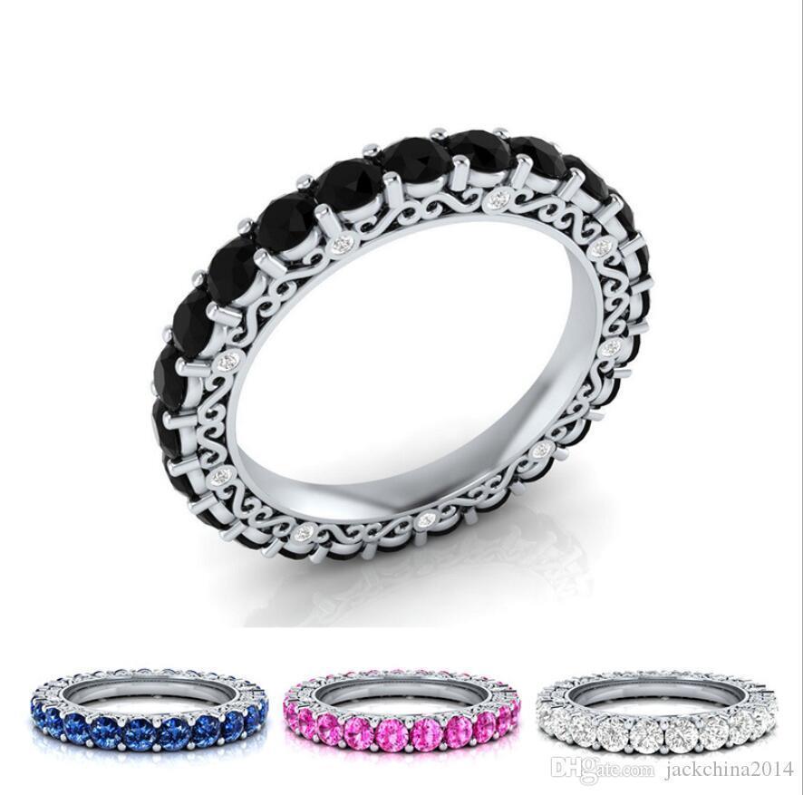 Marca Original Desgin de luxo jóias prata esterlina 925 Cheio Multi Color CZ Sapphire partido do círculo do casamento OL banda anel para mulheres presente