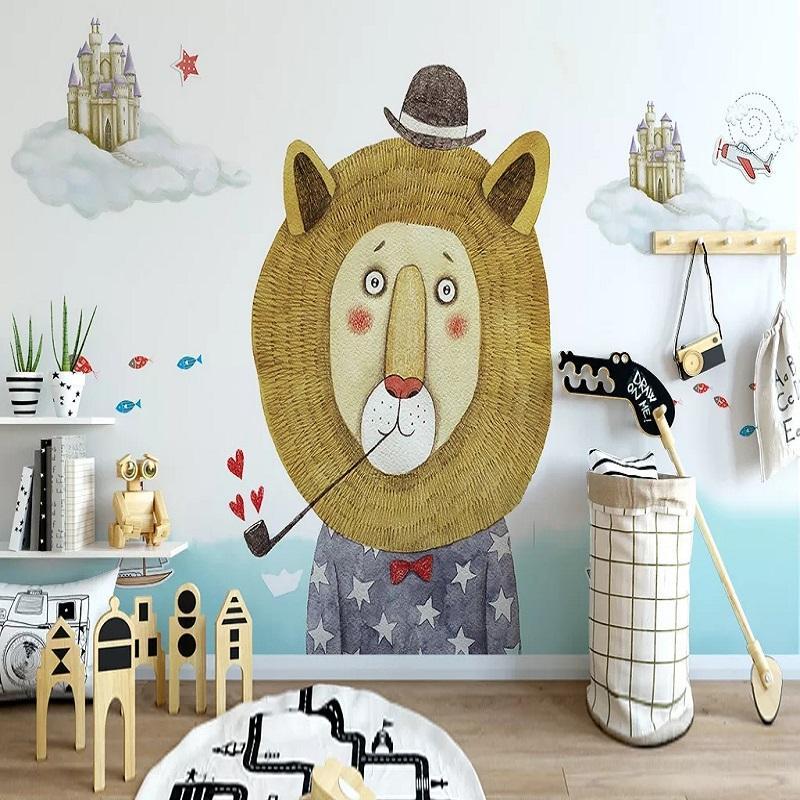 New Custom grande mural 3D papel de parede estilo nórdico leão bonito dos desenhos animados quarto filho mural de TV volta a decoração da parede profunda 5D em relevo