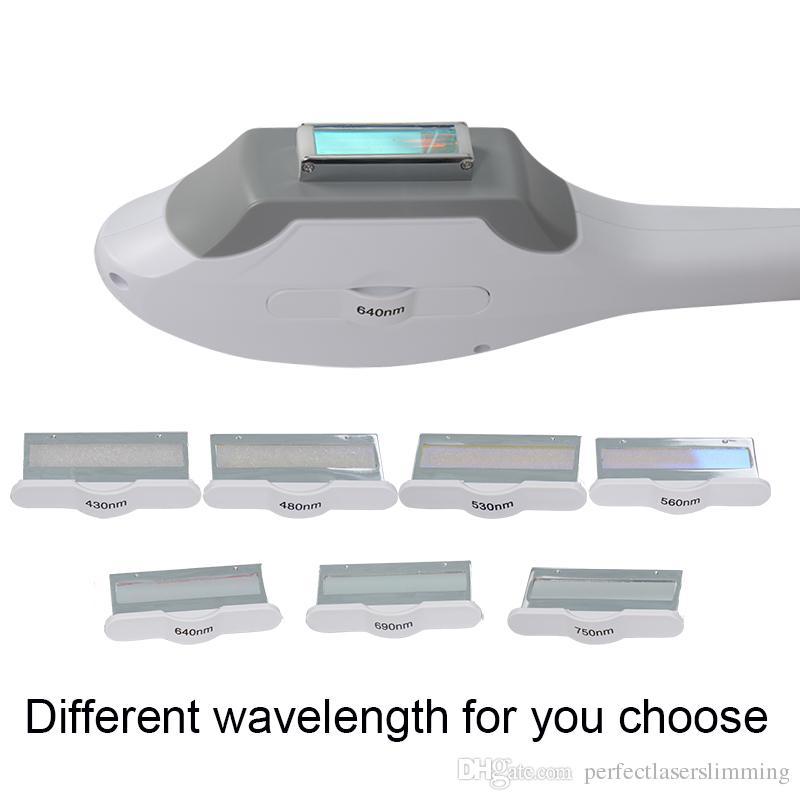 Qualidade superior ipl elight handpiece 7 filtros de comprimento de onda diferente 430nm 480nm 530nm 560nm 640nm 690nm 750nm
