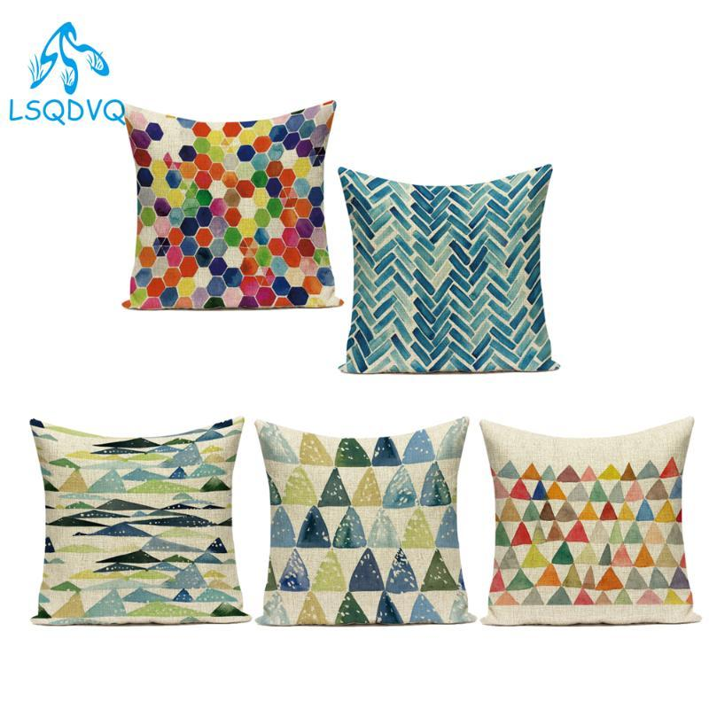 Geometry Colorful Pillowcases Nordic Throw Pillow Gaming Chair Bed Outdoor Cushion Cover Custom Home Sofa Decor Pillow Covers Outdoor Bar Stool Cushions Outdoor Wicker Seat Cushions From Hibooth 38 5 Dhgate Com