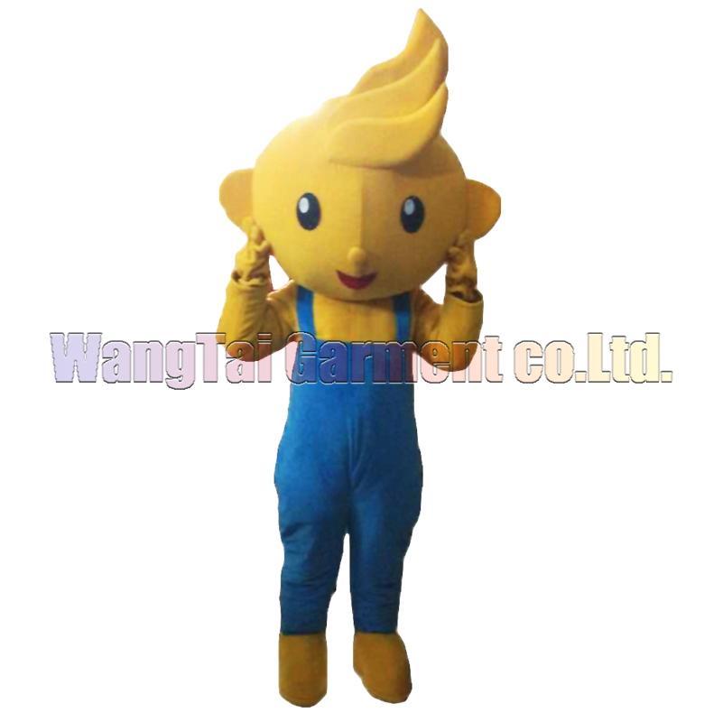 New Yellow Boy Maskottchen Kostüm Erstklassig deluxe Zeichentrickfigur Kostüme Boy in Strapse Kostümfest Karneval freies Verschiffen