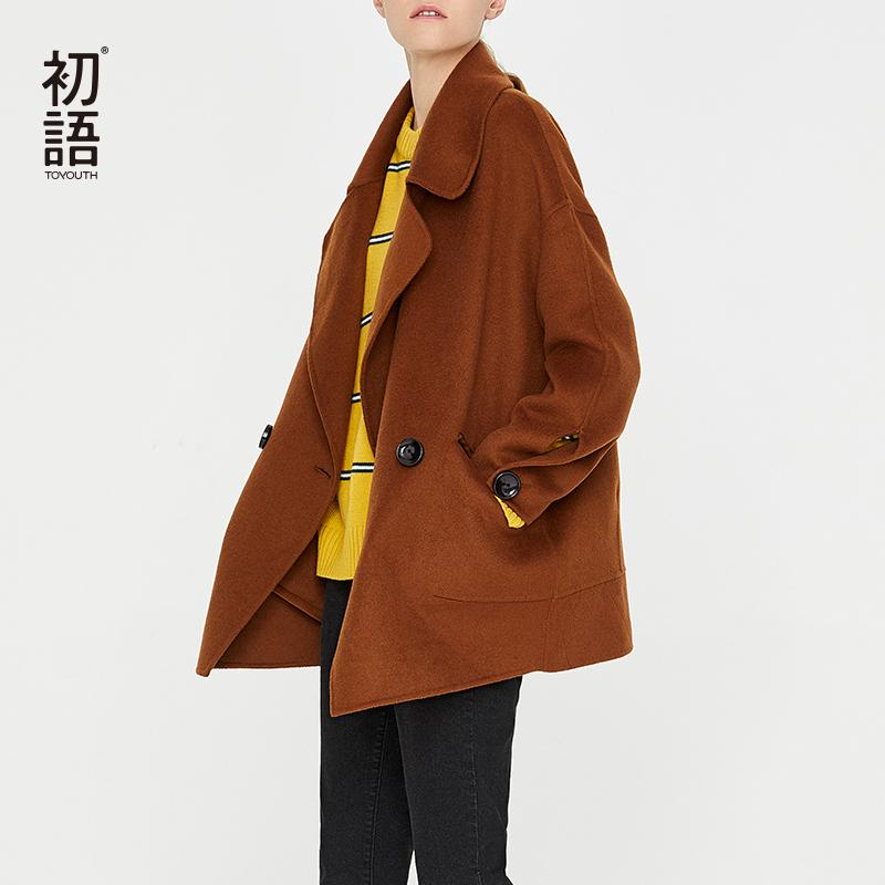Toyouth New Autumn 2019 Vintage Loose Wool Coat Women Stylish Turn-Down Collar Ladies Woolen Coat Short Jackets Tops Abrigos