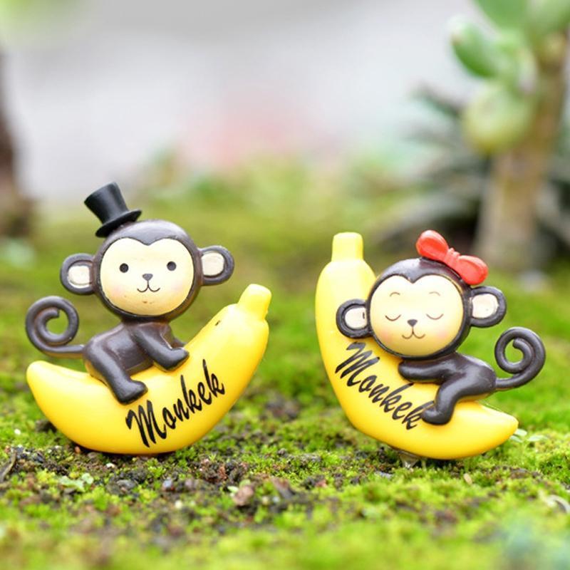 2 PCS Banana Macaco Jardim Dollhouse Decoration Moss Micro Paisagem Resina Ornaments