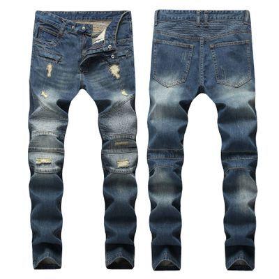 En Kaliteli Yıkanmış Mavi Yırtık Kot Erkekler Delik Denim Süper Sıska Ünlü Tasarımcı Marka Pantolon Çizik Biker Jeans