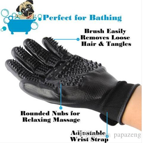 Free shipping Wholesales Pet Dog Cat Grooming Gloves Hair Fur Remover Bathing Shedding Massage 1 Pair