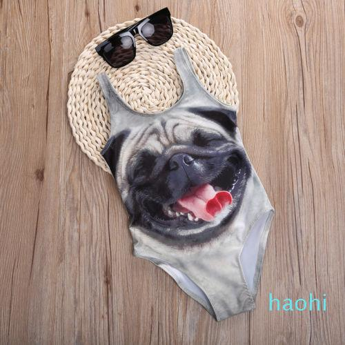 fashion-Cartoon 3D Baby Kids Bathing Suit Swimsuit Kids Girls Bikini Swimwear Cute Dogs Animals Swimming Bathing Suit Swimsuits 3-10Year