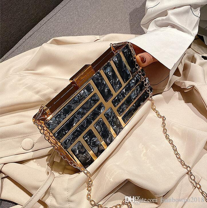 outlet women handbag Artwork high quality hard box chain bag sweet printing Acrylic evening bag elegant Joker women leather shoulder bag