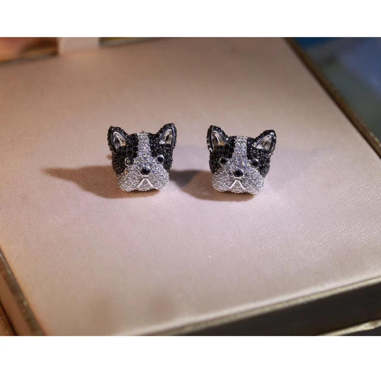 Fashion-Oil Animal French Bulldog Akita dog Bichon frise Siberian Husky Cute Puppy Dog Stud Earrings boucle d'oreille femme Sterling Silver