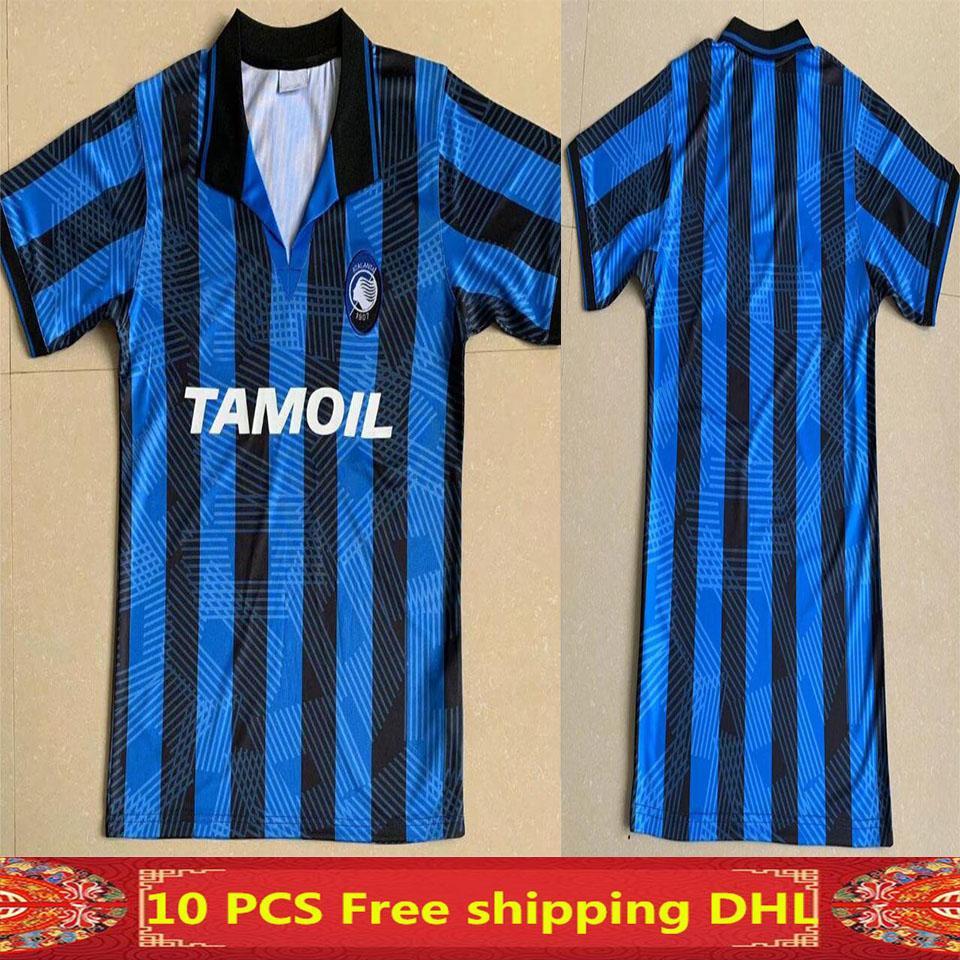 Top 1991 1992 Atalanta Ретро Caniggia Stromberg Paulino Soccer Jersey 91 92 Таиланд Качество Футбольные рубашки