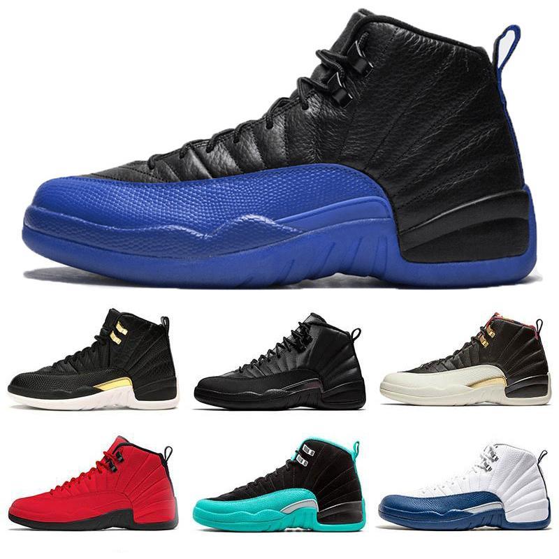 2019 Sapatos Novos 12s OVO Branco FIBA CNY Playoff basquete masculino 12 Navy Bordeaux Jogo Royal Blue Azul francês cereja escuro das sapatilhas cinzentas
