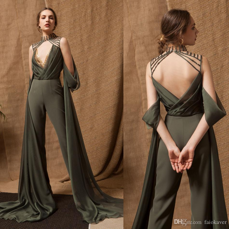 2019 Sexy Prom Jumpsuits High Neck Lace Appliqued Unique Designer Backless Evening Gowns Formal Party Dress Wear