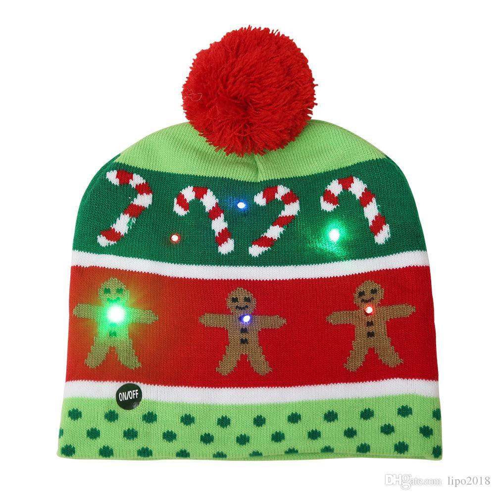 2020 SICAK LED Noel Şapka Beanie Triko Noel Santa Hat Light Up Örme Şapka İçin Kid Yetişkin İçin Noel Partisi Tasarımları