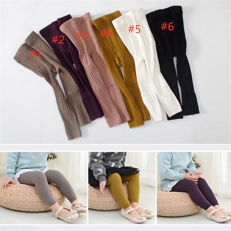 INS Fashions Kids Boy Girls Leggings Stockings Girls Tights Double Needles Ninth Pants High Waist Warm Pure Cotton Bottom Socks and Pants