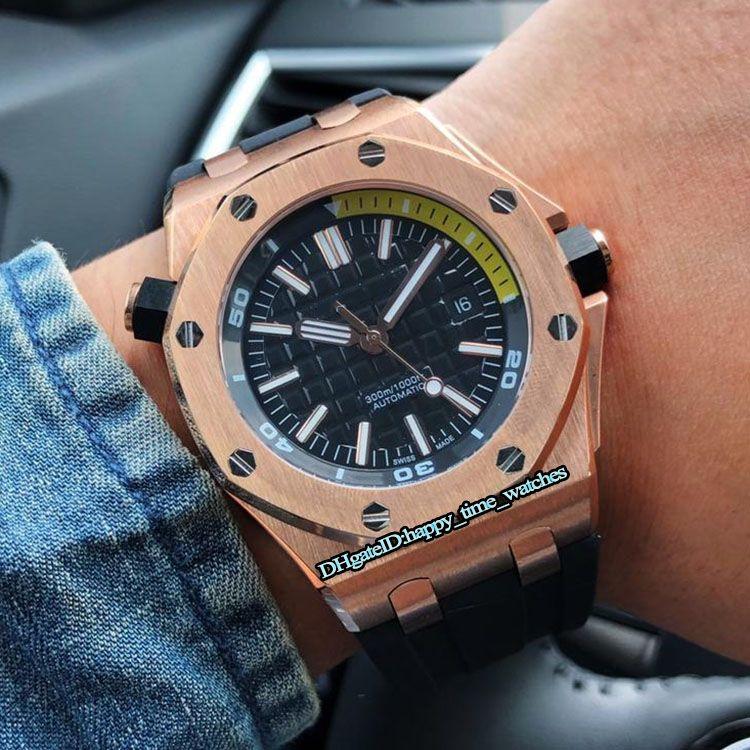 New Offshore Diver 15710ST.OO.A051CA.01 Bisel de oro rosa Dial negro Reloj mecánico automático para hombres Correa de caucho negro Relojes deportivos para hombres