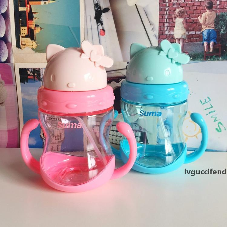 Cute Baby Quality Feeding Bottle Straw Cup Character Pattern Drinking Bottle Sippy Cups With Handles LZ0172
