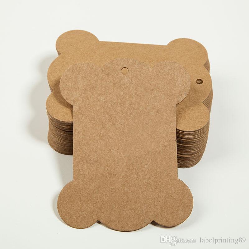 250 unids 10.5 * 6.2 cm en blanco cadena trenzada etiquetas 350gsm paquete de regalo marrón etiqueta colgante DIY hecho a mano etiqueta para colgar