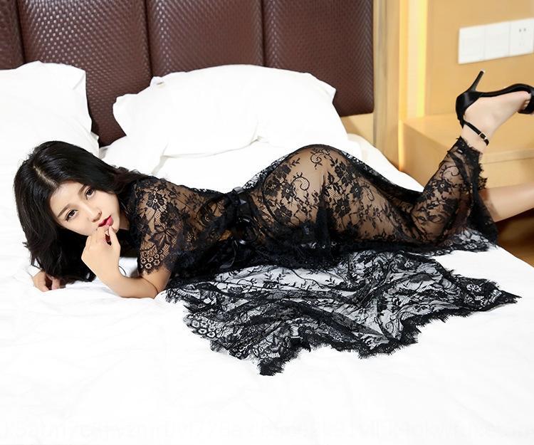 oUUDZ Новой высокого класса нижнего белье сексуальной сорочка белье кружево кружево пижама костюм сексуальная прозрачная ночная рубашка пижама соблазнительной длинную юбку