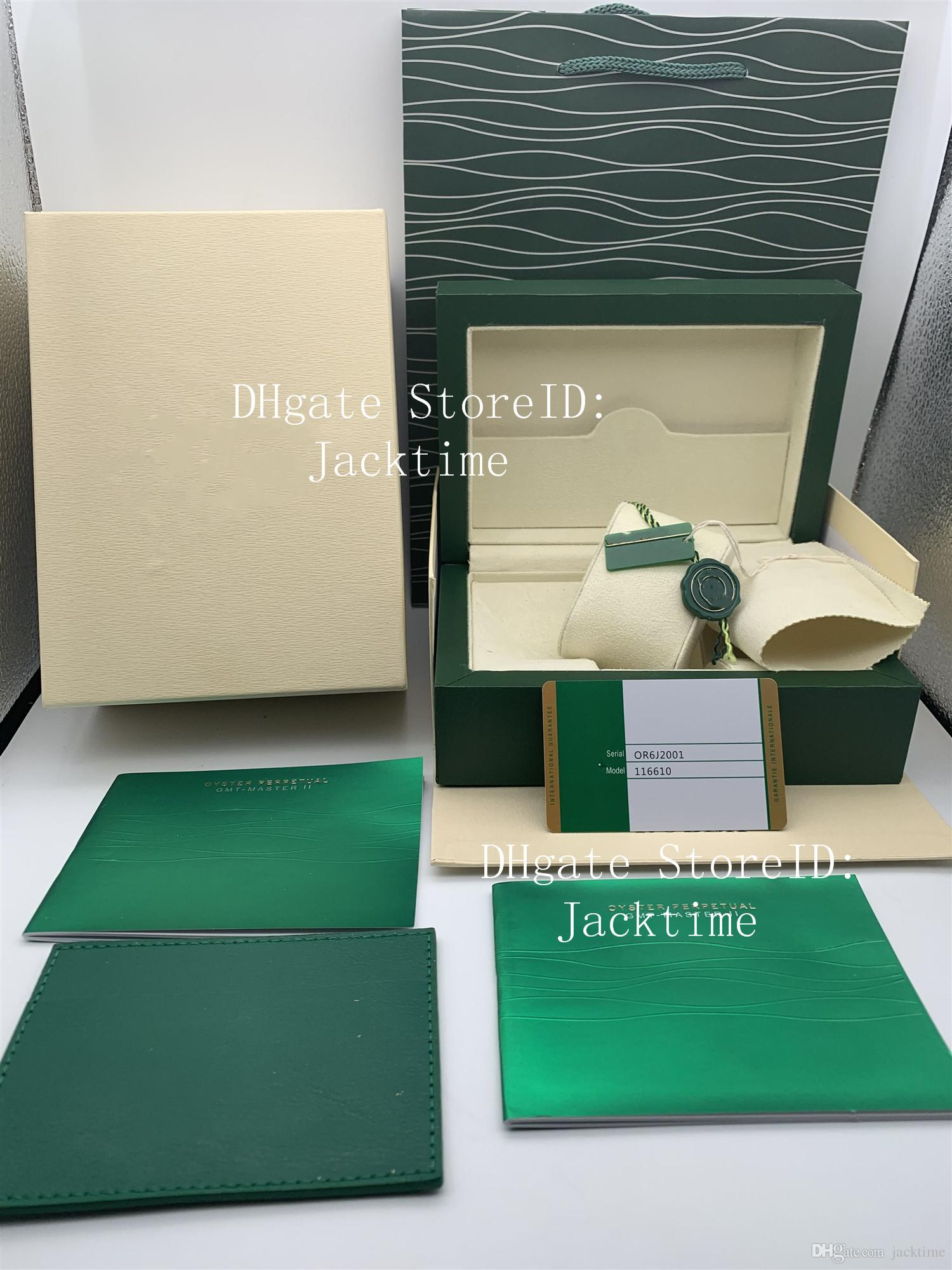 Factory Supplier High Quality Green Box Papers Gift Watches Boxes Leather Bag Card For 116610 116660 116710 116613 Watch Boxes Handbags