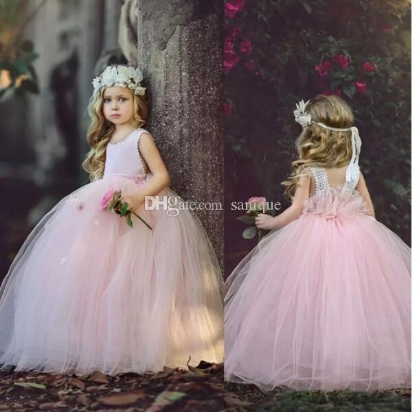 Vestido de baile longo rosa bonito a linha de comprimento da menina de flor vestidos menina 2019 tule meninas pageant vestido de férias vestido