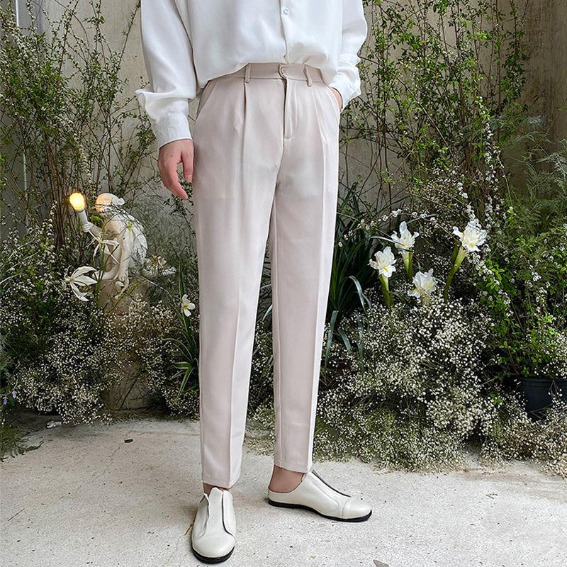Костюм брюки мужская мода сплошной цвет бизнес повседневные брюки мужчины мужчины уличная одежда дикие свободные платья мужские прямые брюки