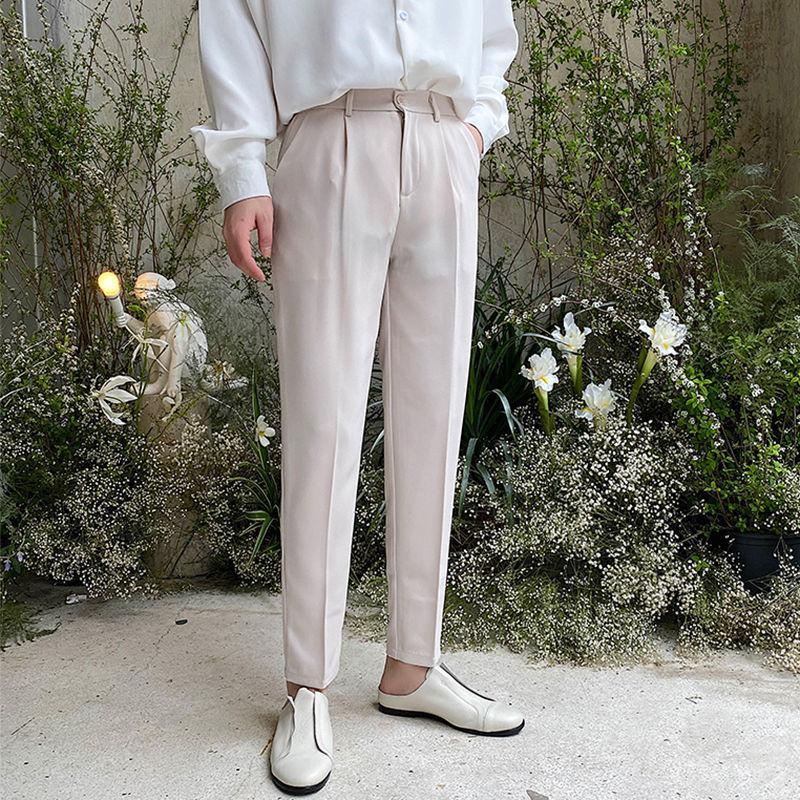 Terno calças dos homens Moda cor sólida Negócios Pants Casual Homens Homens Streetwear selvagem solto Vestido Mens Calças retas