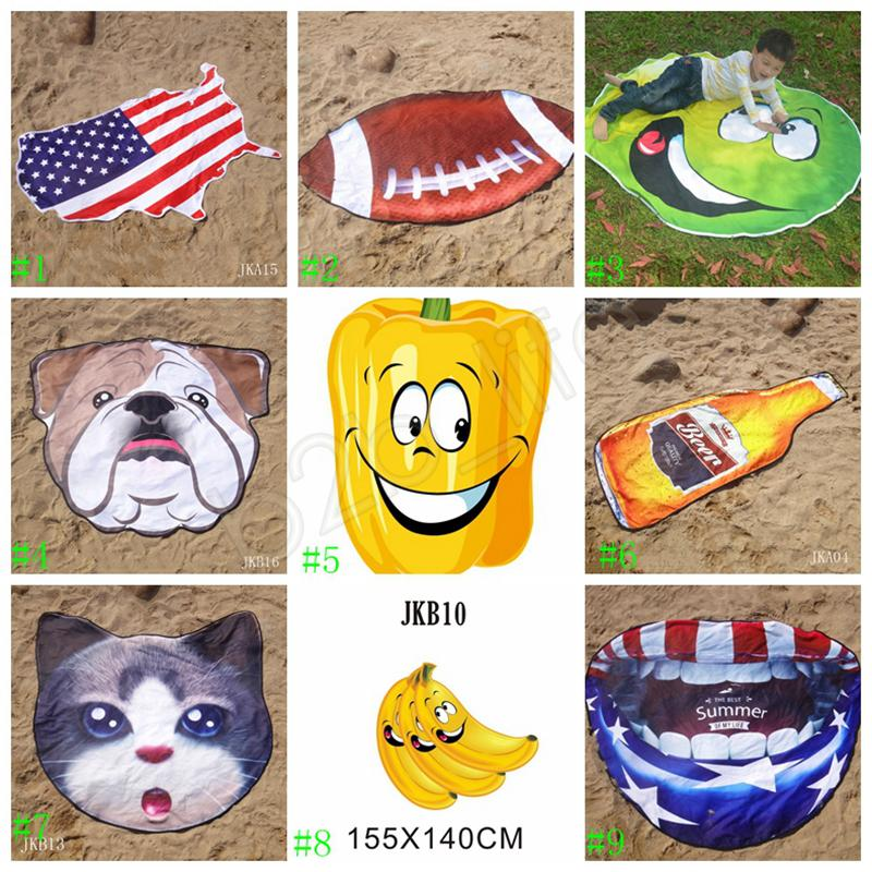 Unregelmäßiges Badetuch Amerikanische Flagge Handtücher Fußballdecke 155 cm Sommer Tierfruchtform Wickelschal Dicke Yogamatte GGA1992