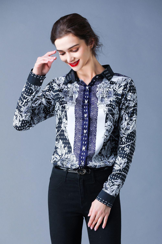 Yeni 2020 İlkbahar Yaz Güz Pist Vintage Baskı Yaka Uzun Kollu Düğme Ön Bayan Bayanlar Rahat OL Parti Plaj Gömlek Bluz Tops