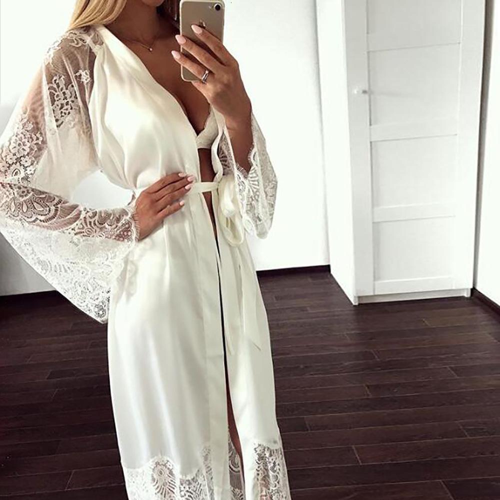 Fashion Sexy Pajama Kleid-Wäsche mit Robe lange Hülsen-Spitze Nightgown mit Gürtel Nachtwäsche Satin Frauen Bridesmaid Bademantel DT191024