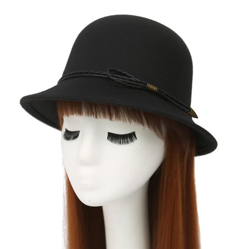 İngiliz Tarzı Şapka Sonbahar Kış Kadın Yün Deri İp Trend Bayan Kız Cimri Brim Kepçe Şapkalar Dome En Şapkalar ile Fedoras Keçe