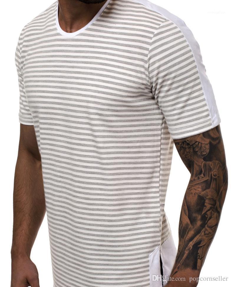 Casual Crew cou à rayures et col rond Gradual Casual T-shirt Adolescent Homme T-shirt des hommes Designer