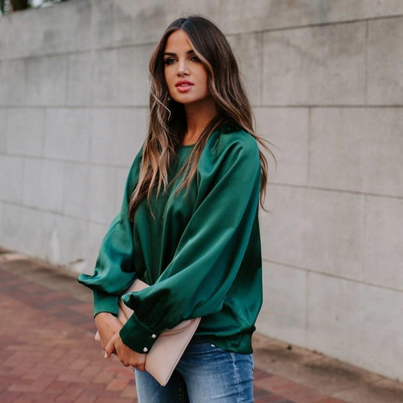 Puff Kol Ç Boyun Parti Saten Bluz Casual Kadınlar Sonbahar Kış Şık Ofis Uzun Kollu İpek Bluz Gömlek Bayan Üst